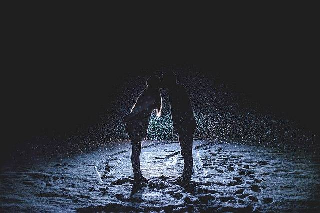 Couple Kissing Snowy Night Snowing - Free photo on Pixabay (106051)