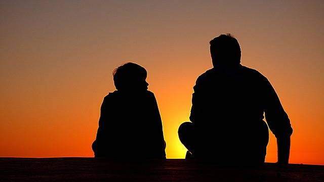 Silhouette Father And Son Sundown - Free photo on Pixabay (145452)