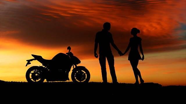 Sunset Motorcycle Couple - Free image on Pixabay (148107)