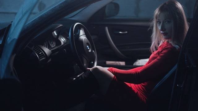 Girl In Car A Red Dress Behind - Free photo on Pixabay (218836)