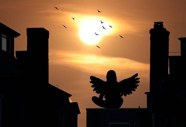 Sunset Houses Silhouette Angel - Free photo on Pixabay (531791)