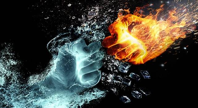 Fire And Water Fight Hands - Free image on Pixabay (533624)